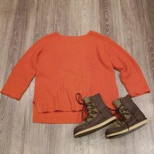 J. Jill Orange Cable Knit Sweater